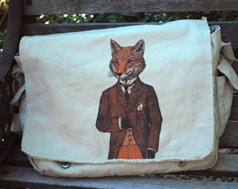 Fox Bag - The Dapper Fox Messenger Bag - Women's or Men's Messenger Bag - Fox Art - Gift for him - Shoulder Bag