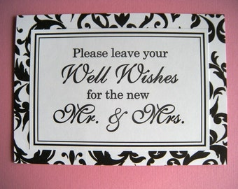 CLEARANCE 5x7 Flat Please Leave Your Well Wishes Printed Wedding Guest Book Sign in Black and White Damask - Ready to Ship