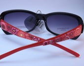 Handcrafted Polymer Clay Embellished Sunglasses, Red Millefiori Floral