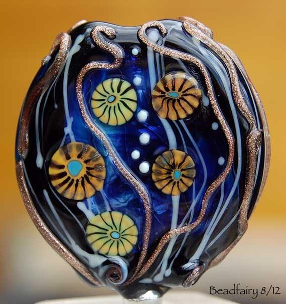 Focal Underwater Dance , Lampwork Bead , blue silver glass murrini and glitzy goldstone ,  glass beads by Beadfairy Lampwork