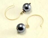 OOAK Handmade Silvery Blue Pearl Dangle Earrings