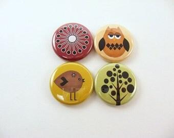 Retro Nature owl, bird, tree, flower Fridge Magnets, Wine Charms for glassware, Pins - burgundy, yellow, green, brown 1124