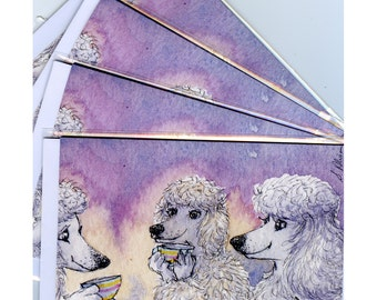 4 x white poodle dog greeting cards - cup of tea