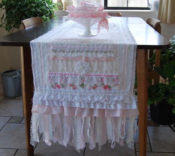 Pretty in Pink - Vintage Pink Linen and Lace Tea Party Garden Wedding Table Runner OOAK FunkyJunkyArt