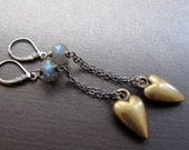 heart earrings - sterling silver, brass & labradorite