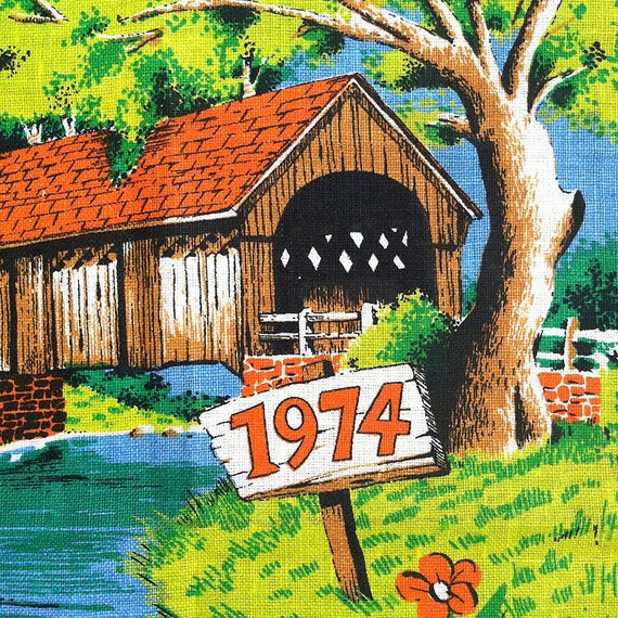 Vintage Tea Towel Calendar - 1974