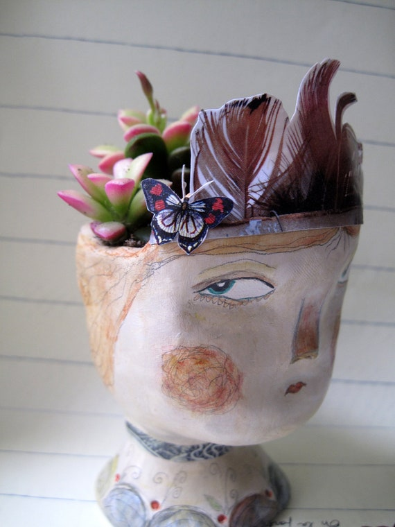 Her Headdress, Clay Doll Planter