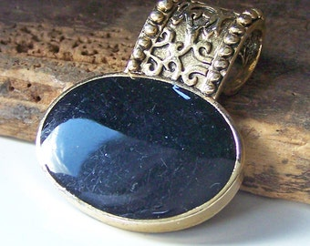 REDUCED Destashed Commercial Gold Plated Orante and Black Stone Pendant, Etsy Jewelry, Jewelry, Etsy Supplies, Gift