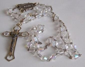 REDUCED, Vintage Czech Glass Catholic Rosary, Vintage Rosary, Vintage Beads, Catholic Rosary, Etsy Jewelry, Etsy Vintage, Rosary
