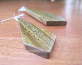 Green Wood Earrings - Edgy - Sustainable - Eco Sharp Diamond - Sterling Silver  - Boho Wooden Geometric Jewelry - Woodworking - Contemporary