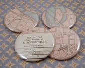 Minneapolis, Minnesota Map Magnets, Vintage 1910s Atlas, set of 4