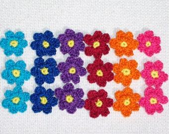 18 bright thread crochet applique flowers -- 1768