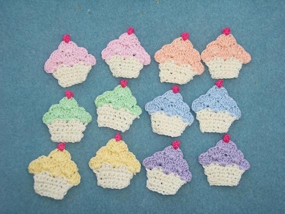 12 cotton thread crochet applique cupcakes/6 pair --  1557