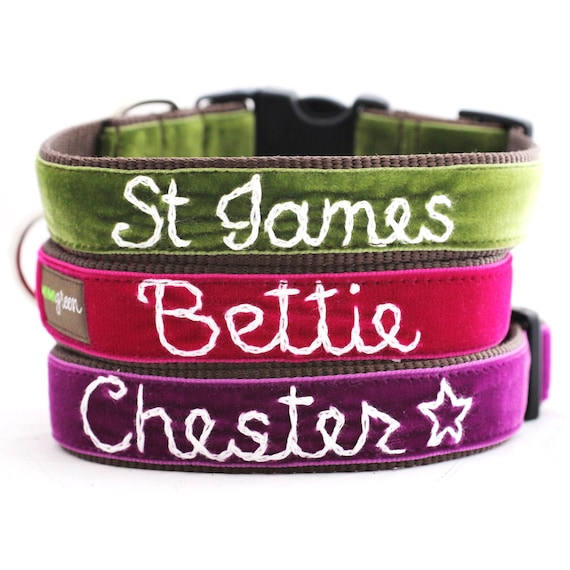 Personalized Velvet Dog Collar (14 colors to choose from) Hand Embroidered with your dog's name