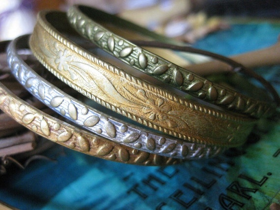 Four is a party -  floral mixed metals stackable brass bangle set