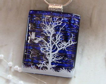 Fused Dichroic Glass Pendant, Glass Jewelry, Cobalt Blue, Necklace Included, A2