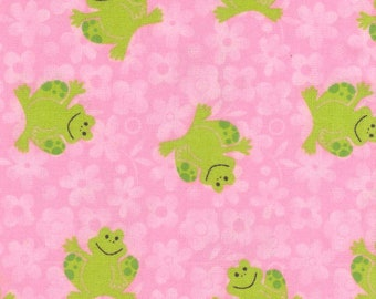 Frogs With Pink Daisy Background Flannel Fabric