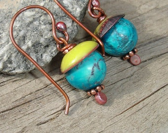 Handmade Enamel, Copper and Jasper Earrings, Turquoise and Chartreuse, Natural Stone Enamel Copper Earrings, Forged Rustic Copper (G150)