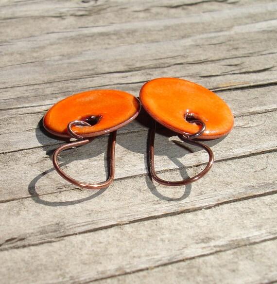 SALE Handmade Enameled Copper Disc Earrings, Simple Dangle, Dot, Round, Tangerine Enamel Disc Earrings, Enamel on Copper, SRA (M106)