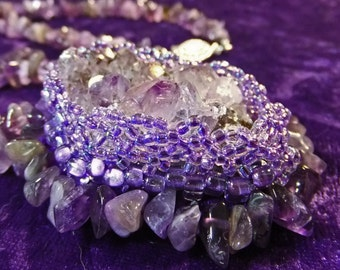 Natural Amethyst Necklace Chunk Bead Embroidered with Purple Lavender Seedbeads and Edged with Polished Amethyst Chips