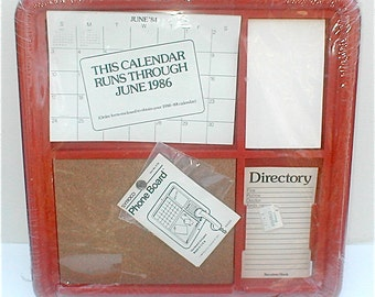 Vintage 80s Syroco Red Phone Board - Cubicle Wall Hanging Organizing Center - Office Post It