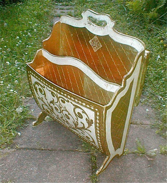 Reserved for Stephanie -----Florentine Wooden Magazine Rack and Fold Out End Table - Vintage 60s