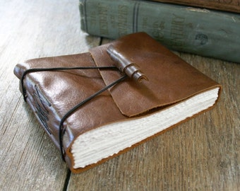 Leather Journal / Sketchbook / Guestbook . Rustic, Small & Chunky . handmade handbound . medium brown with handmade leather toggle (320 pgs)