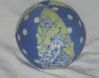 Lime Green Central Park Toile Fabric Ball Rattle - SALE