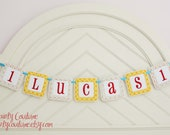 Boy First Birthday Fabric Banner - Preppy dots in red, aqua, orange, and green - Sold PER LETTER