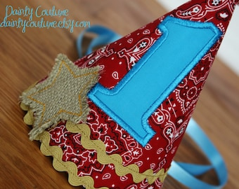 Boys 1st birthday hat -Cowboy or Barnyard theme in red bandana, aqua, and burlap - Free personalization - Keepsake
