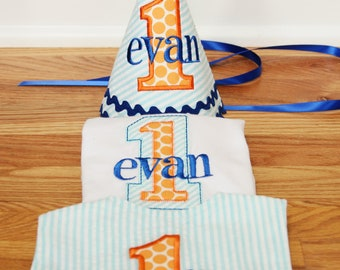 Boys First Birthday Hat, Bib, and Shirt - Aqua stripes, Michael Miller sunny ta dots, orange, and navy blue accents - Free personalization