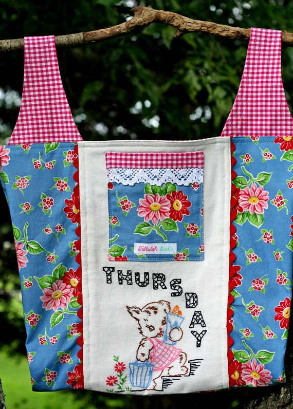 Vintage ... THURSDAY ... Days of the Week Tea Towel Repurposed  .. Embroidered Puppy Shopping Market Tote Bag Purse