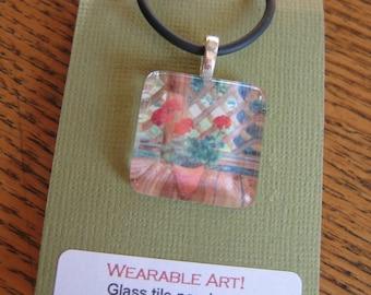 Glass Tile Art Pendant Red Geranium Floral gift packaged