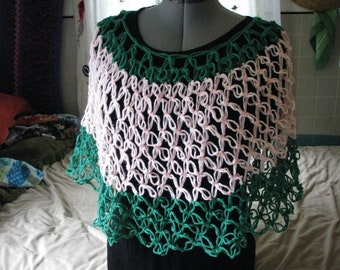 Bright Crocheted Mesh Poncho or shawl