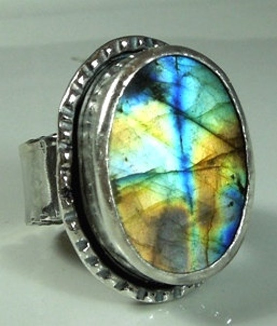 large labradorite and sterling silver statement ring exceptional flash