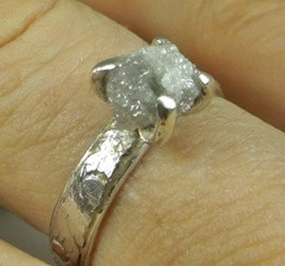 Rough Diamond Solitaire sterling silver alternative engagement ring raw stone