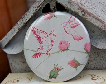 SALE Pocket Mirror - Wedding Favors, Bridesmaid Gifts - Birds - PERSONALIZABLE, CUSTOMIZABLE with monograms