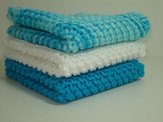 Handknitted Dishcloths - Turquoise and White - Set of 3