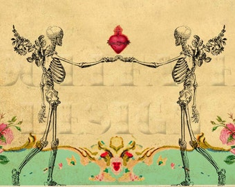 Printable DIY Wedding Invitation Suite - Digital Download -  Gothic Victorian Winged Skeleton Couple Sacred Heart Vintage Wedding Invitation