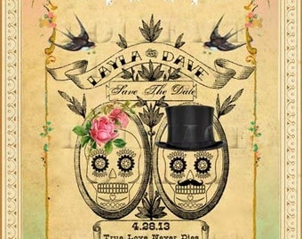DIY Printable Save The Date Cards Digital Download - Vintage Mexican Sugar Skulls Day of The Dead Wedding - Personalized Mint and Pink Ombre
