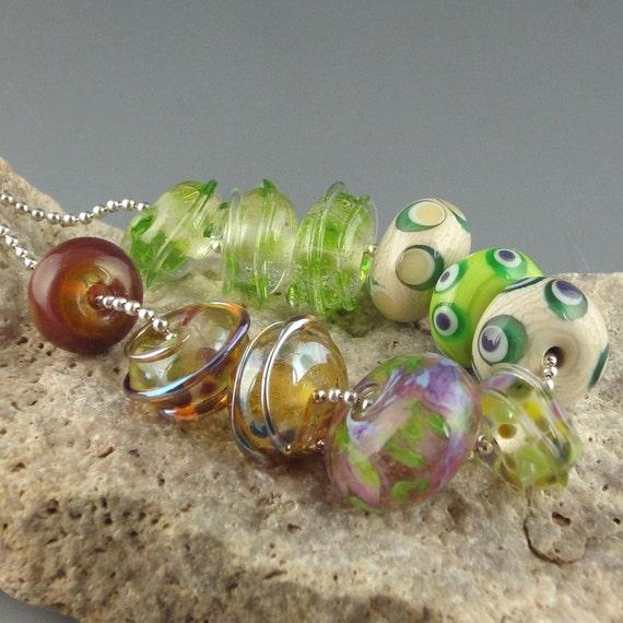 Handmade Lampwork Glass Bead Set - Happy