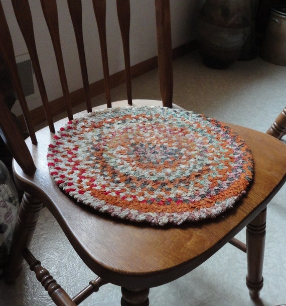 Vintage Braided Chenille Chair Pads Set of 4 Soft Multi Color 14 inch Handmade Mini Rag Rugs Primitive