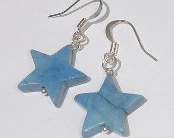 blue stone stars hand made wire wrapped pierced dangle earrings
