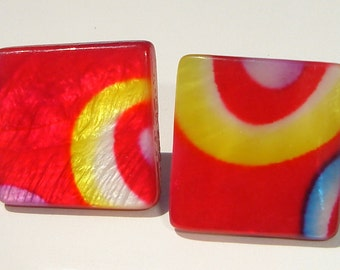 wild hot shiny pink blue yellow mod design squares pierced post earrings