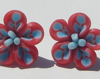 small red and blue polymer clay flower pierced post earrings