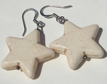 Star Earrings Pierced Earrings beige stars Star Earrings hand made earrings by Ziporgiabella