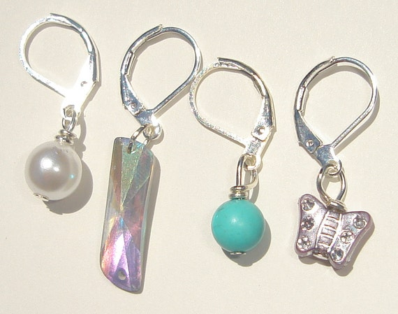 4 assorted hand made wire wrapped stitch markers