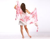 Shawl scarf felted - Elegant pink - Handmade - Wool and pink linen - Special Occasion