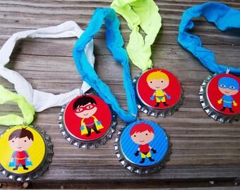 Super Hero Boys Slumber Birthday Party Favor Stretchy Bracelet 12pk