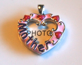 Mother Heart  Photo Locket, Sterling Charm or Pendant, Enameled Pink